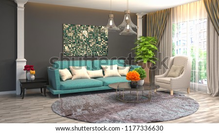 Interior of the living room. 3D illustration #1177336630