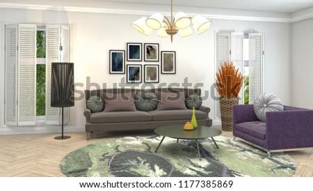 Interior of the living room. 3D illustration #1177385869