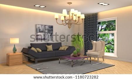 Interior of the living room. 3D illustration #1180723282