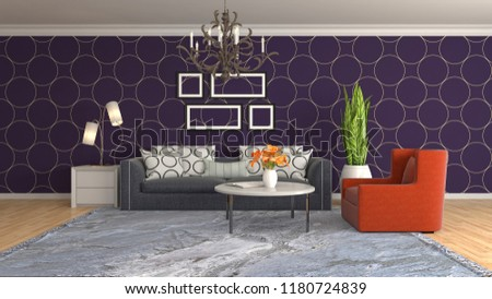 Interior of the living room. 3D illustration #1180724839