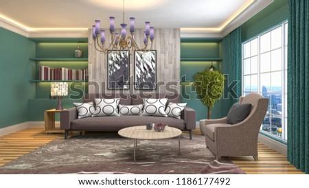 Interior of the living room. 3D illustration #1186177492