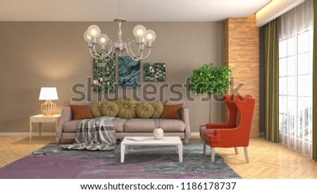 Interior of the living room. 3D illustration #1186178737