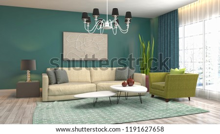 Interior of the living room. 3D illustration #1191627658