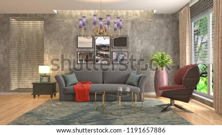 Interior of the living room. 3D illustration #1191657886