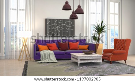 Interior of the living room. 3D illustration #1197002905