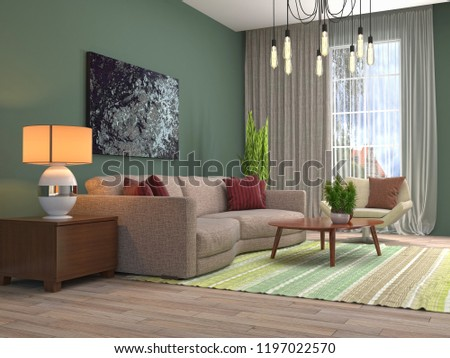 Interior of the living room. 3D illustration #1197022570