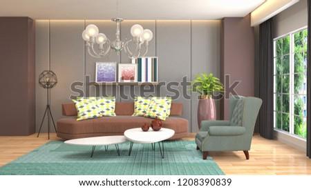 Interior of the living room. 3D illustration #1208390839