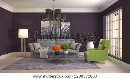 Interior of the living room. 3D illustration #1208391883