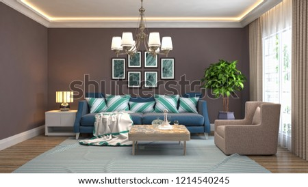 Interior of the living room. 3D illustration #1214540245