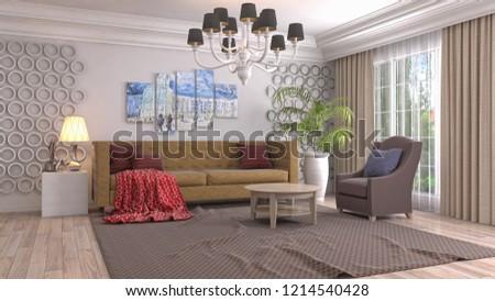 Interior of the living room. 3D illustration #1214540428