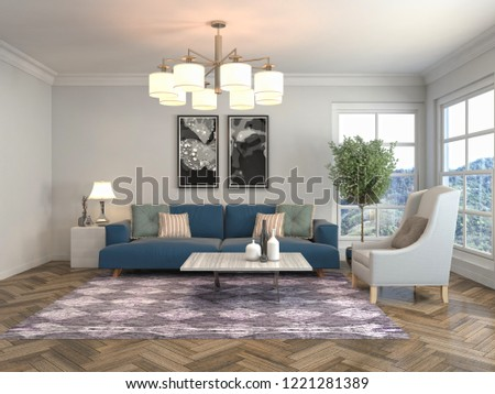 Interior of the living room. 3D illustration #1221281389