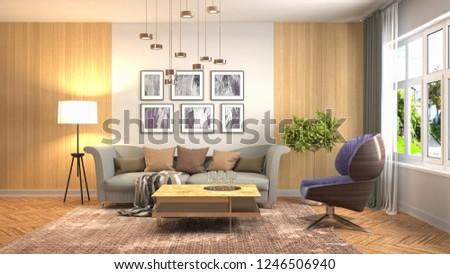 Interior of the living room. 3D illustration #1246506940