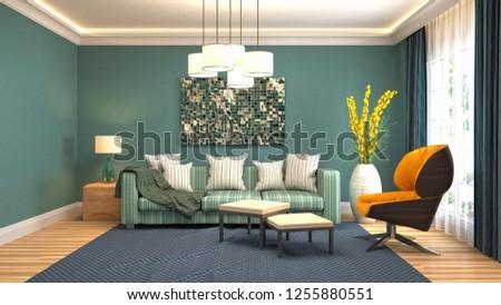 Interior of the living room. 3D illustration #1255880551