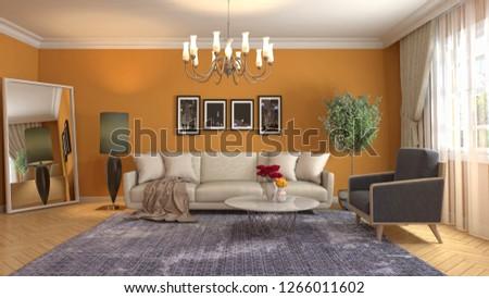 Interior of the living room. 3D illustration #1266011602