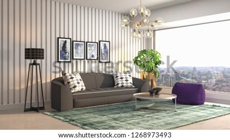 Interior of the living room. 3D illustration #1268973493
