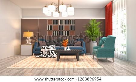 Interior of the living room. 3D illustration #1283896954