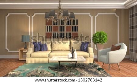 Interior of the living room. 3D illustration #1302783142