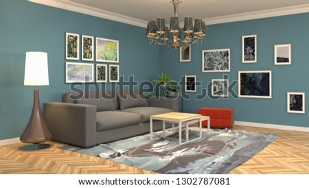 Interior of the living room. 3D illustration #1302787081