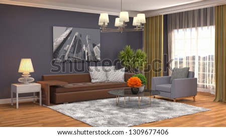 Interior of the living room. 3D illustration #1309677406