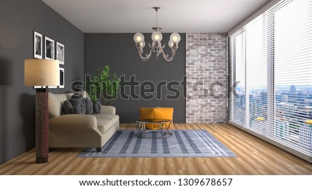 Interior of the living room. 3D illustration #1309678657