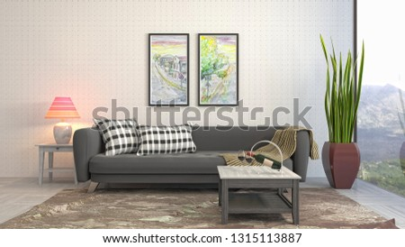 Interior of the living room. 3D illustration #1315113887