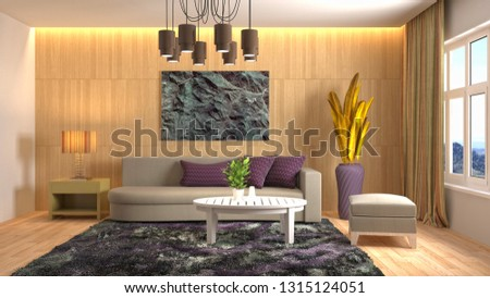 Interior of the living room. 3D illustration #1315124051