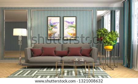 Interior of the living room. 3D illustration #1321008632