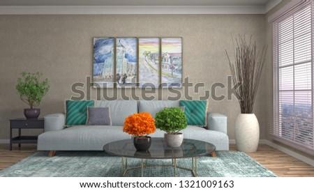 Interior of the living room. 3D illustration #1321009163