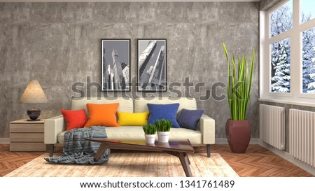 Interior of the living room. 3D illustration #1341761489