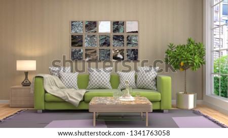 Interior of the living room. 3D illustration #1341763058
