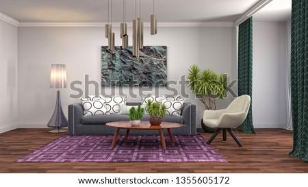 Interior of the living room. 3D illustration #1355605172