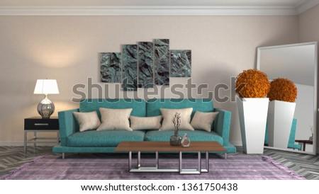Interior of the living room. 3D illustration #1361750438