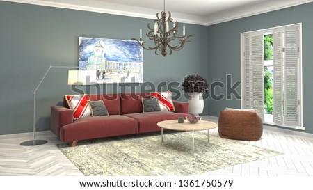 Interior of the living room. 3D illustration #1361750579