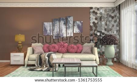 Interior of the living room. 3D illustration #1361753555