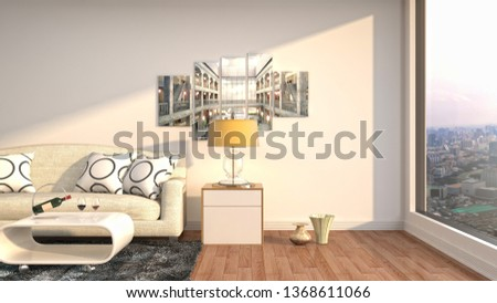 Interior of the living room. 3D illustration #1368611066