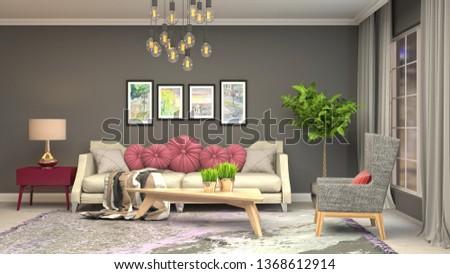 Interior of the living room. 3D illustration #1368612914