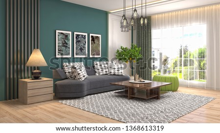 Interior of the living room. 3D illustration #1368613319