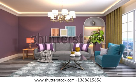 Interior of the living room. 3D illustration #1368615656