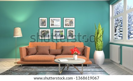 Interior of the living room. 3D illustration #1368619067
