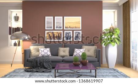 Interior of the living room. 3D illustration #1368619907