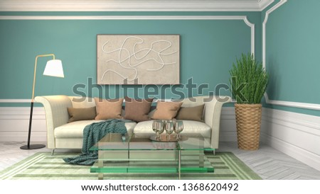 Interior of the living room. 3D illustration #1368620492