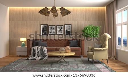 Interior of the living room. 3D illustration #1376690036