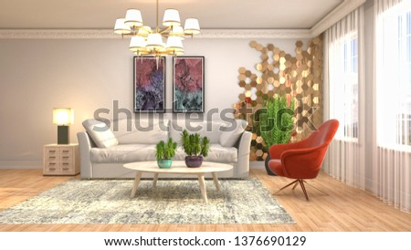 Interior of the living room. 3D illustration #1376690129