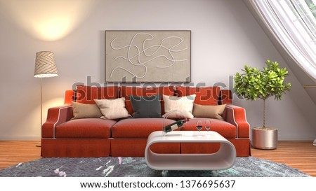Interior of the living room. 3D illustration #1376695637