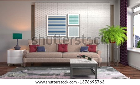 Interior of the living room. 3D illustration #1376695763