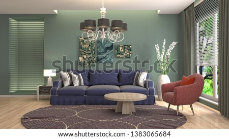 Interior of the living room. 3D illustration #1383065684
