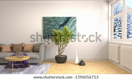 Interior of the living room. 3D illustration #1396056713