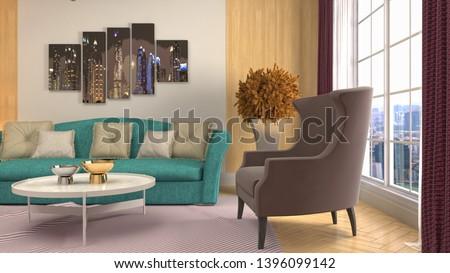 Interior of the living room. 3D illustration #1396099142
