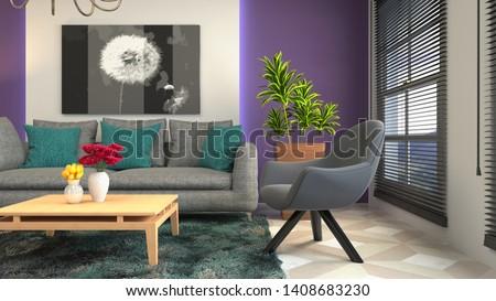 Interior of the living room. 3D illustration. #1408683230