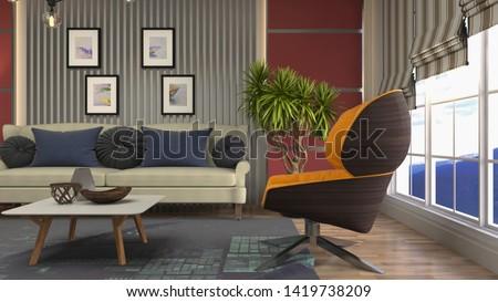 Interior of the living room. 3D illustration. #1419738209